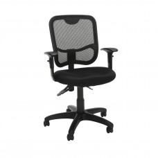 OFM Comfort Series Ergonomic Mesh Swivel Task Chair with Arms, Mid Back, in Black (130-AA3-A05)