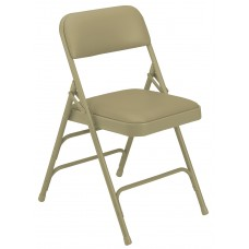French Beige Vinyl Upholstered Triple Brace Double Hinge Premium Folding Chairs Carton of 4