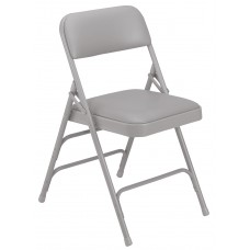 Warm Grey Vinyl Upholstered Triple Brace Double Hinge Premium Folding Chairs Carton of 4
