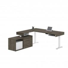 Pro-Vega Height Adjustable L-Desk in Walnut Grey & White