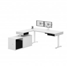 Pro-Vega Height Adjustable L-Desk with Dual Monitor Arm in White and Black