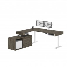 Pro-Vega Height Adjustable L-Desk with Dual Monitor Arm in Walnut Grey & White
