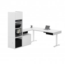 Pro-Vega Height Adjustable L-Desk with Storage Tower in White and Black