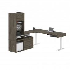 Pro-Vega Height Adjustable L-Desk with Storage Tower in Walnut Grey & White
