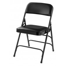 Caviar Black Vinyl Triple Brace Double Hinge Premium Folding Chair Carton of 4
