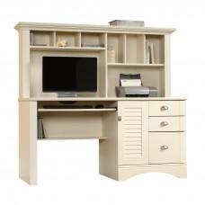 Harbor View Computer Desk w/Hutch - Antiqued White