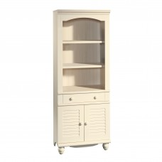 Harbor View Library With Doors - Antiqued White