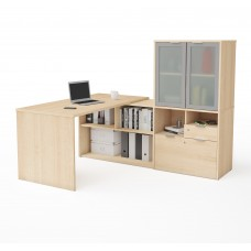 i3 Plus L-Desk with Frosted Glass Door Hutch in Northern Maple