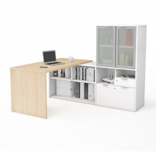 i3 Plus L-Desk with Frosted Glass Door Hutch in Northern Maple and White
