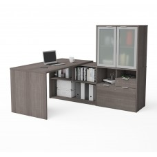 i3 Plus L-Desk with Frosted Glass Door Hutch in Bark Gray