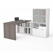 i3 Plus L-Desk with Frosted Glass Door Hutch in Bark Gray & White