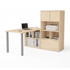 i3 Plus L-Desk with Hutch in Northern Maple