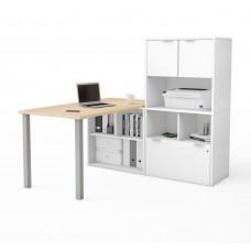 i3 Plus L-Desk with Hutch in Northern Maple & White