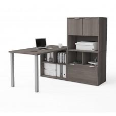 i3 Plus L-Desk with Hutch in Bark Gray