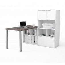 i3 Plus L-Desk with Hutch in Bark Gray & White