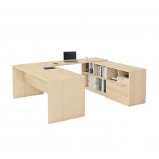 i3 Plus U-Desk with Two Drawers in Northern Maple