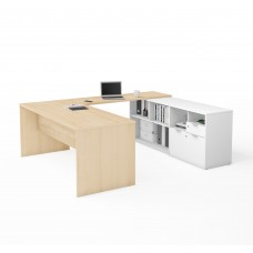 i3 Plus U-Desk with Two Drawers in Northern Maple & White