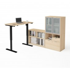 i3 Plus Height Adjustable L-Desk with Frosted Glass Door Hutch in Northern Maple
