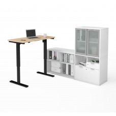i3 Plus Height Adjustable L-Desk with Frosted Glass Door Hutch in Northern Maple & White
