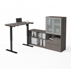 i3 Plus Height Adjustable L-Desk with Frosted Glass Door Hutch in Bark Gray