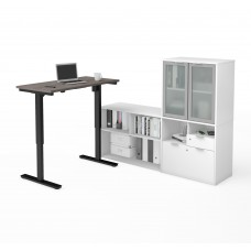 i3 Plus Height Adjustable L-Desk with Frosted Glass Door Hutch in Bark Gray & White