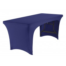 Blue Stretch Fabric Table Cover,  Open 2-S, 6'