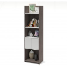 Bestar Small Space 20-inch Storage Tower in Bark Gray and White