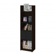 Bestar Small Space 20-inch Storage Tower in Dark Chocolate and Black