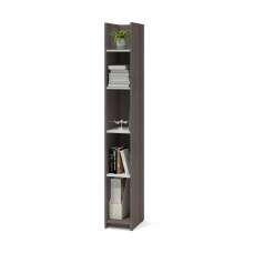 Bestar Small Space 10-inch Storage Tower in Bark Gray and White