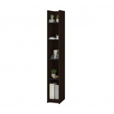 Bestar Small Space 10-inch Storage Tower in Dark Chocolate and Black
