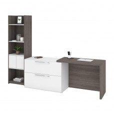 Bestar Small Space 2-Piece Sliding Computer Desk and 20-inch Storage Tower Set in Bark Gray and White