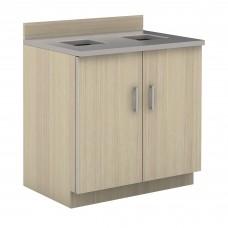 Hospitality Base Cabinet, Waste Receptacle - Vanilla Stix (cabinet);Grey (counter top)