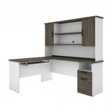 Bestar Norma L-shaped Desk with Hutch - Walnut Grey & White