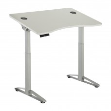 Safco Products Defy Electric Height-Adjustable Desk 1980WH, White Desktop, Silver Base