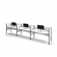 Pro-Biz Triple side-by-side workstation in White