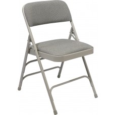 Greystone Fabric Upholstered Triple Brace Double Hinge Premium Folding Chairs Carton of 4