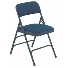 Imperial Blue Fabric Upholstered Triple Brace Double Hinge Premium Folding Chairs Carton of 4
