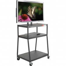 Wide Body Flat Panel Tv Cart (Black) W/O Cabinet