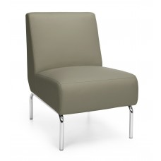 Triumph Series Armless Lounge Chair with Vinyl Seat and Chrome Frame, Taupe