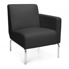 Triumph Series Left Arm Modular Lounge Chair with Vinyl Seat and Chrome Frame, Black