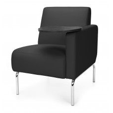 Triumph Series Left Arm Modular Lounge Chair with Tablet Vinyl Seat and Chrome Frame, Black/Tungsten