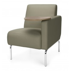 Triumph Series Left Arm Modular Lounge Chair with Tablet Vinyl Seat and Chrome Frame, Taupe/Bronze