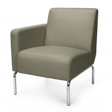 Triumph Series Right Arm Modular Lounge Chair with Vinyl Seat and Chrome Frame, Taupe