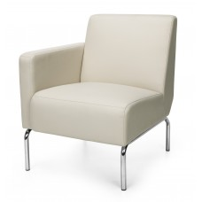 Triumph Series Right Arm Modular Lounge Chair with Vinyl Seat and Chrome Frame, Cream