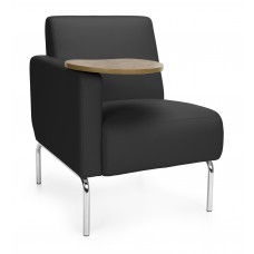 Triumph Series Right Arm Modular Lounge Chair with Tablet Vinyl Seat and Chrome Frame, Black/Bronze