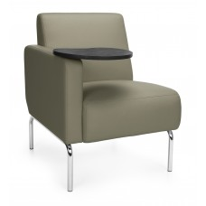 Triumph Series Right Arm Modular Lounge Chair - Taupe/Tungsten
