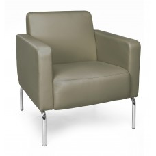 Triumph Series Lounge Chair with Vinyl Seat and Chrome Frame, Taupe