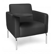 Triumph Series Lounge Chair with Tablet Vinyl Seat and Chrome Frame, Black/Tungsten