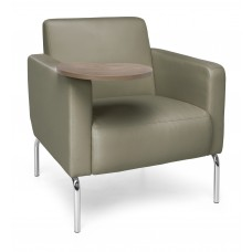 Triumph Series Lounge Chair with Tablet Vinyl Seat and Chrome Frame, Taupe/Bronze