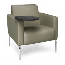 Triumph Series Lounge Chair with Tablet Vinyl Seat and Chrome Frame, Taupe/Tungsten